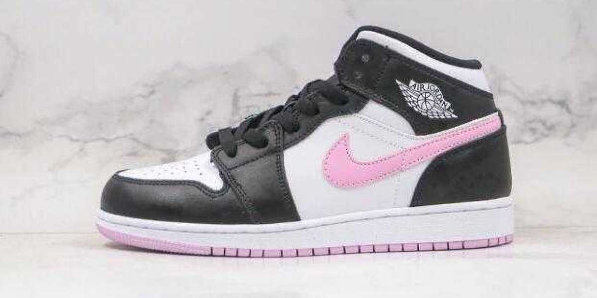 2020 New Sale Air Jordan 1 Mid GS Black Pink White Women Shoes